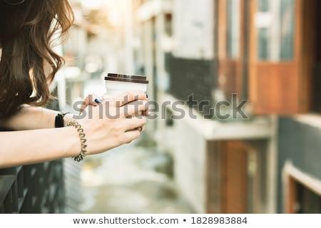 Felice donna pausa caffè lavoro ufficio ragazza Foto d'archivio © alphaspirit
