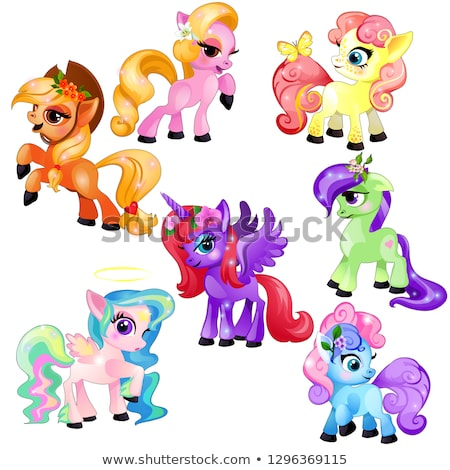 Set of colorful little cute ponies and unicorn isolated on white background. Vector cartoon close-up Stock photo © Lady-Luck