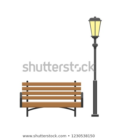 Bench Made of Wooden Material with Lantern Vector Stock photo © robuart