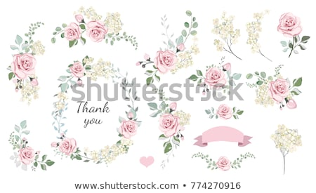 watercolor pink flowers and heart stock photo © artspace