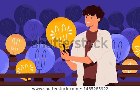 ビジネス アイデア 電球 男性 ベクトル ワーカー ストックフォト © robuart