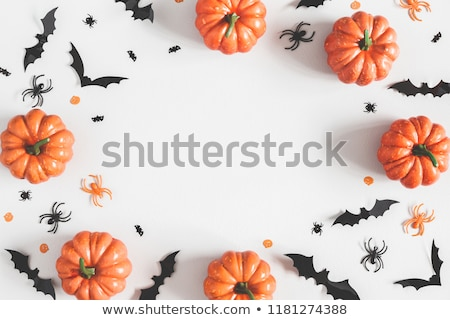 pumpkins with bats or halloween party decorations stock photo © dolgachov