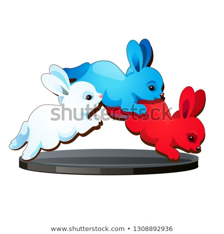 Statuette in the form of three jumping hares colors of the Russian flag of the tricolor isolated on  Stock photo © Lady-Luck