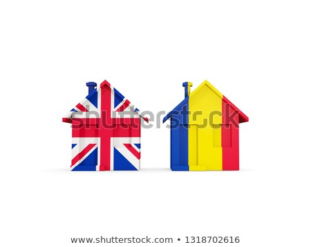 Dos casas banderas Reino Unido Rumania aislado Foto stock © MikhailMishchenko