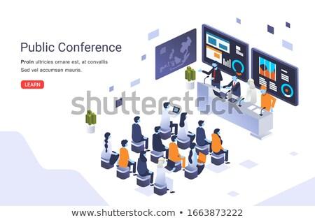 Internationale bedrijfsleven isometrische 3D landing pagina zakenlieden Stockfoto © RAStudio