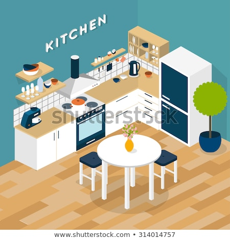 Stock photo: Vector isometric kitchen interior