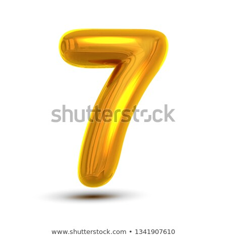 7 Seven Number Vector. Golden Yellow Metal Letter Figure. Digit 7. Numeric Character. Alphabet Typog Stock photo © pikepicture