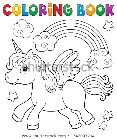 Coloring Book Stylized Unicorn Theme 2 Vector Illustration C Klara