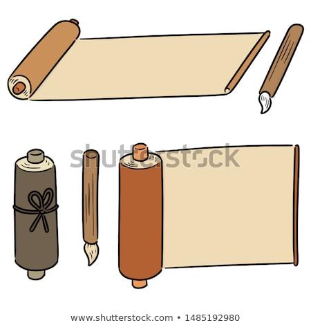 vector set of scroll and brush stock photo © olllikeballoon