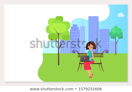 Free Wifi Zone in City Park Woman Sitting on Bench Stock photo © robuart