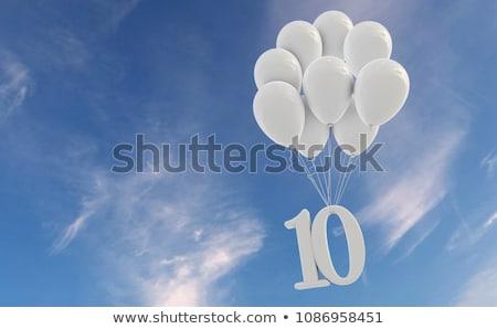 Numero dieci pallone cielo illustrazione sfondo Foto d'archivio © colematt