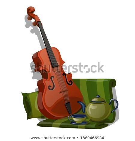 Violino verde listrado tecido chá conjunto Foto stock © Lady-Luck
