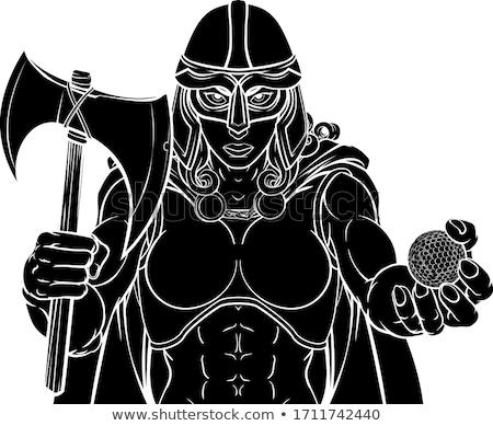 Viking golf spor maskot savaşçı gladyatör Stok fotoğraf © Krisdog