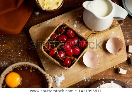 ingredients for a coca de cireres a cherry cake stock photo © nito
