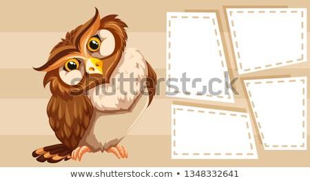 coruja · carteiro · carta · papel · feliz · e-mail - foto stock © bluering