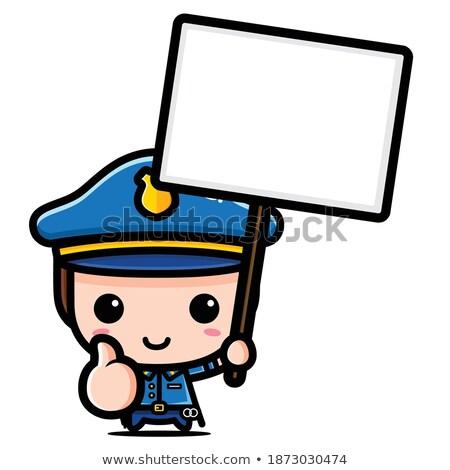Doodle good policeman character Stock photo © colematt