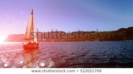 white yacht with sail set goes along the island on a hot day. blue sea, blue sky. Crimea. on board a stock photo © ElenaBatkova