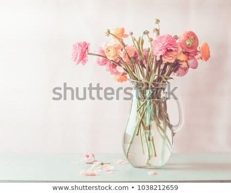 красные цветы стекла красный цветы темно Сток-фото © Melnyk