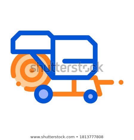 shaking harvester vehicle vector thin line icon stock photo © pikepicture