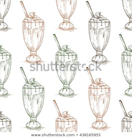 Seamless pattern vanilla milkshake scetch Stock photo © netkov1