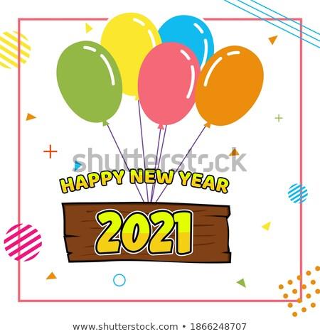 Stok fotoğraf: 2020 Helium Balloons Congratulation Banner Vector