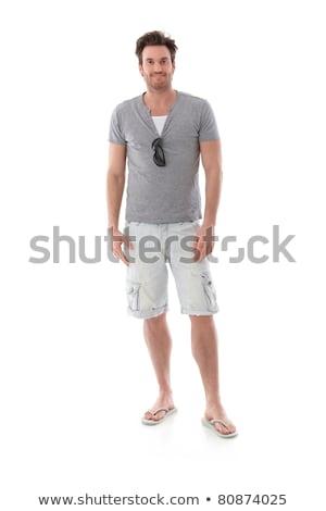 blanco · camiseta · joven · aislado · frente · atrás - foto stock © nyul