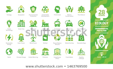 global warming and climate change icon set stock photo © soleilc