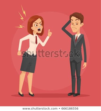 сердиться Boss женщину сотрудник человека иллюстрация Сток-фото © tiKkraf69