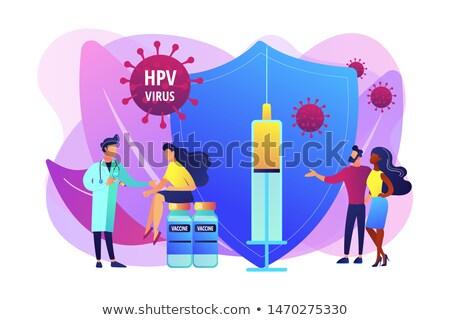 aşı · afiş · zaman · şırınga · aşı · şişe - stok fotoğraf © rastudio