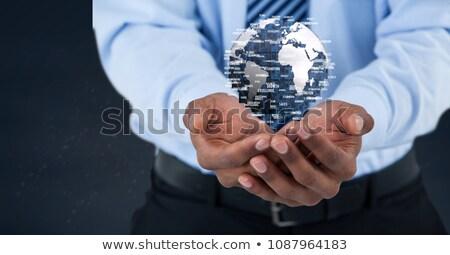Stockfoto: Zakenman · wereldbol · digitale · composiet · hand · man