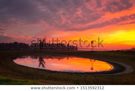 Moulin à vent étang rural domaine sunrise Photo stock © lovleah