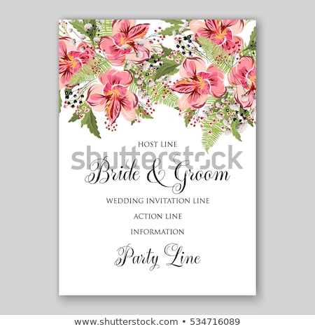 Lily flowers card background Vector watercolor. Floral wedding decors Stock photo © frimufilms