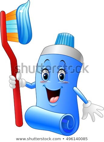 Karikatur Rohr Zahnpasta Illustration halten Zahnbürste Stock foto © bennerdesign