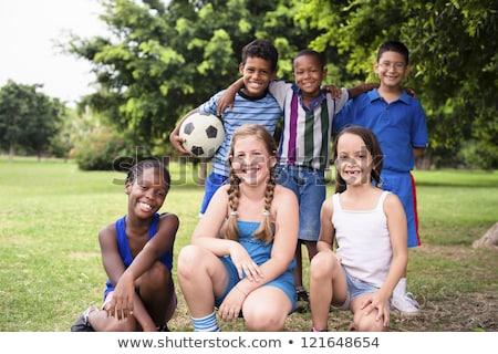 Three Happy Cheerful Kids of Sports Soccer Team. Boys Football Stock photo © matimix