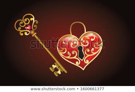 Foto stock: Key With Red Heart Shape Key Chain