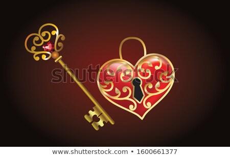 Key With Red Heart Shape Key Chain Stock photo © AndreyPopov
