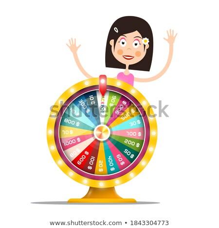 Rueda excitado mujer juego ruleta dinero Foto stock © robuart