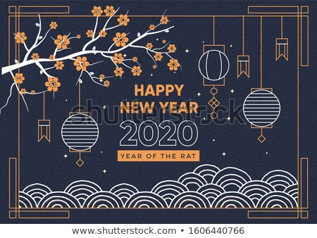 Chinese new year rat 2020 blue card gold line art Stock photo © cienpies