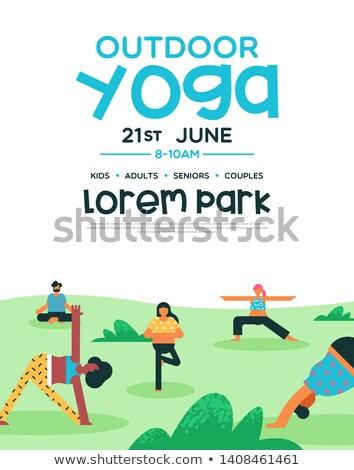 Açık yoga olay poster şablon uçan Stok fotoğraf © cienpies