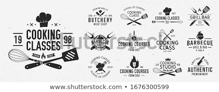 Meat logo. Logo for Cooking school with icon chef knife, text typography Stock photo © FoxysGraphic
