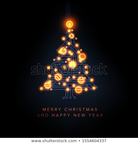 Karácsonyi üdvözlet fa áramkör karácsonyfa narancs villám Stock fotó © orson