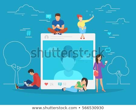 Dipendenza minuscolo uomini d'affari smartphone tablet come Foto d'archivio © RAStudio