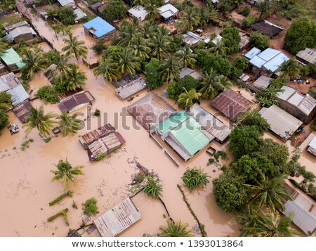 Aerial view overhead houses flooded by a cyclone Stock photo © timwege