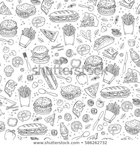 Fastfood hand drawn doodles seamless pattern. Fast food background Stock photo © balabolka