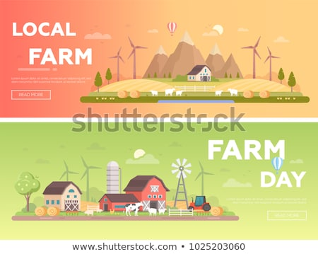 Windmill and farm house set Vector flat style collections Stock photo © frimufilms