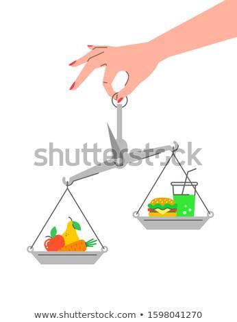 Meyve vs fast-food doğrusal vektör Stok fotoğraf © vectorikart