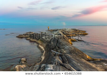 Zonsondergang meer Rusland Blauw zon landschap Stockfoto © borisb17