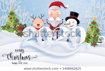 Glückliches neues Jahr Karte Gold Papier geschnitten Kiefer Stock foto © cienpies