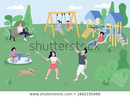 Szene Folie Karussell Park Illustration Garten Stock foto © bluering