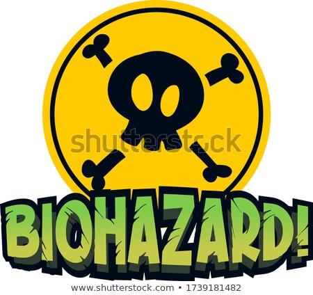 Betűtípus terv szó bioveszély citromsárga felirat Stock fotó © bluering